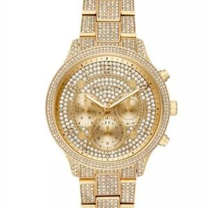 Michael Kors Gold tone Pave women's watch $495 + t